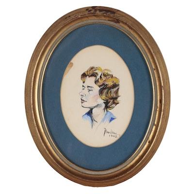 Marlène Portrait of Young Woman Gouache Painting, 1967