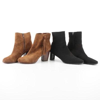 Frye Boots in Brown Suede and Stuart Weitzman Short Boots in Black Gore-Tex
