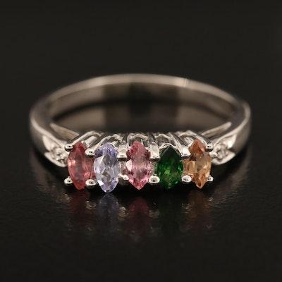 Sterling Ring Including Tsavorite, Tourmaline and Tanzanite