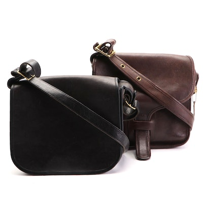 Coach Flap Shoulder Bags in Black and Dark Brown Leather
