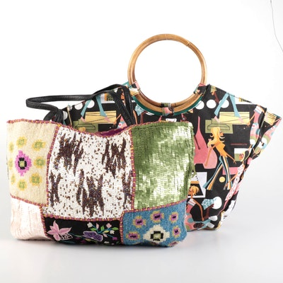 Christiana and Neiman Marcus Beaded and Printed Canvas Bags