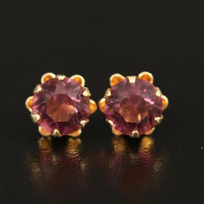 14K Buttercup Stud Earrings with Glass