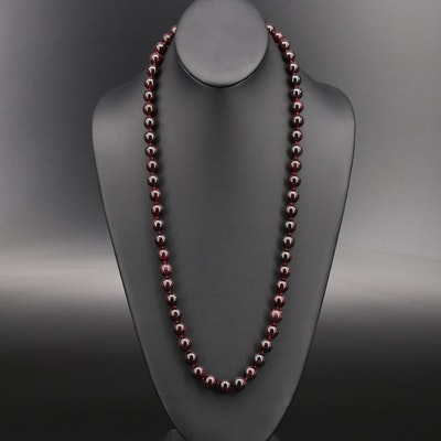 Garnet Beaded Necklace with 14K Clasp
