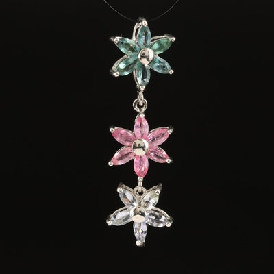 Sterling Floral Drop Pendant with Alexandrite, Pink Sapphire and Tanzanite