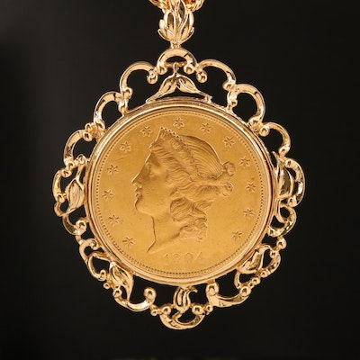 1904 $20 Double Eagle Gold Coin in 14K Bezel on 18K Chain