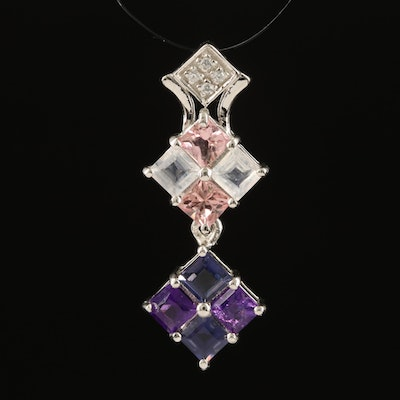 Sterling Drop Pendant with Topaz, Amethyst and White Zircon