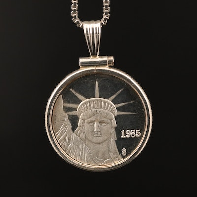 Liberty Trade Silver Coin Mounted in Sterling Pendant Necklace