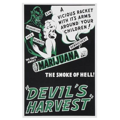 "Giclée After Marijuana Propaganda Film Poster ""Devil's Harvest,"" 21st Century"