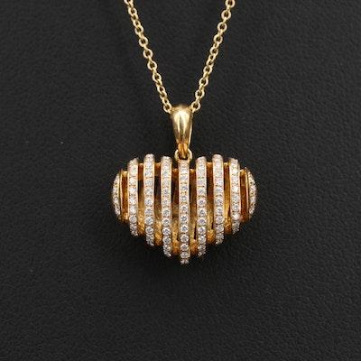 Simon G 18K 0.28 CTW Diamond Puffed Heart Pendant Necklace