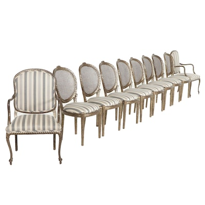 Eight Faux Bois Style Painted Cane Back Wood Side Chairs with Two Arm Chairs