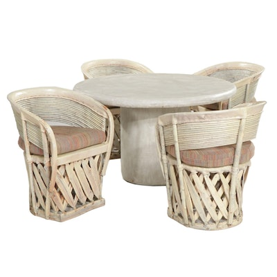 Four Traditional Mexican Wood and Leather Chairs with Cement Dining Table