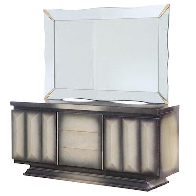 Bassett Mid Century Modern Ombré-Stained Mahogany Nine-Drawer Dresser