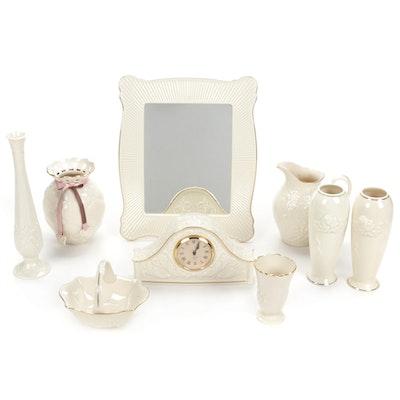 Lenox Bone China Mantel Clock, Blackberry Pitcher, Vases, Mirror, and More