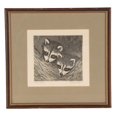 """George Engle Etching with Aquatint """"Little Coons"""""""