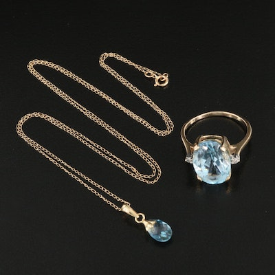 14K Sky Blue Topaz and Diamond Ring and Pendant Necklace