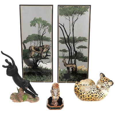 Three Hand-Painted Ceramic and Porcelain Wildcat Figurines and Mirrors