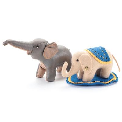 Steiff Felt Elephant Toy with Leather Elephant Toy