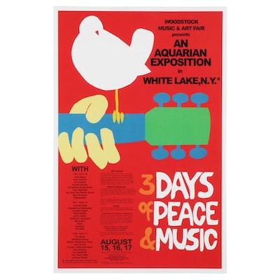 1969 Woodstock Festival Poster Giclée After Arnold Skolnick, 21st Century