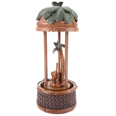Cheyenne Elephant and Palm Tree Oil Rain Table Lamp, Contemporary