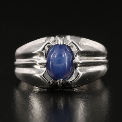 10K Star Sapphire Fluted Ring