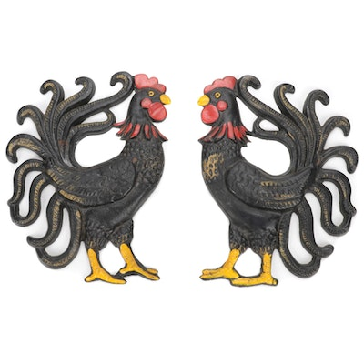 Two Folk Art Hanging Cast Iron Decorative Roosters