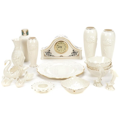 Lenox Bone China Madison Mantel Clock, Vases, Plates, and More