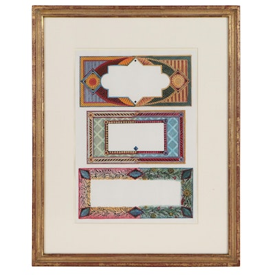 """Cressida Bell Giclée With Watercolor """"Three Invitation Designs,"""" 1990"""