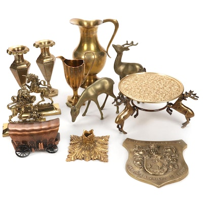 Brass Vases, Reindeer Figurines, Plaques, Coin Bank and More