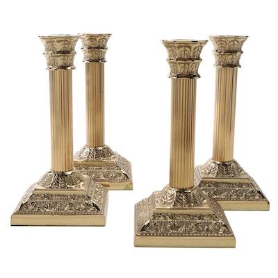 Virginia Metalcrafters Corinthian Column Brass Candlesticks