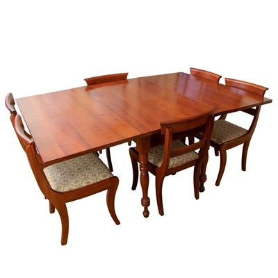 Federal Style Cherry Drop-Leaf Dining Set, Mid to Late 20th Century