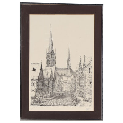 Lithograph of City Streetscape, Mid-Late 20th Century