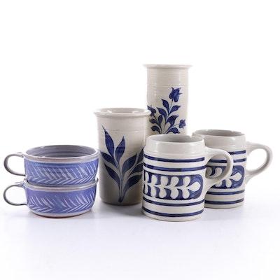 Williamsburg Pottery Salt Glazed Stoneware Tankards, Utensil Holders and More
