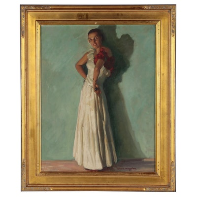 Edwin Wappler Portrait Oil Painting of a Dancer, Early 20th Century