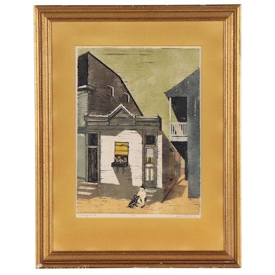 "Davira Fisher Woodcut ""Nothing to Do,"" 1959"