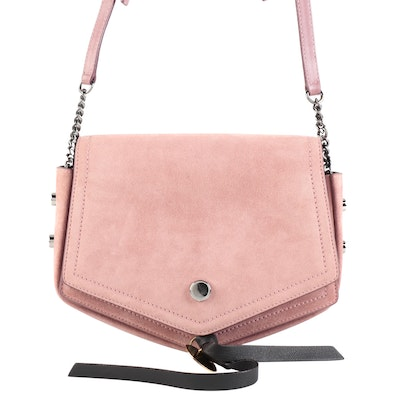 Jimmy Choo Arrow Shoulder Bag in Pink Suede with Studded Gussets