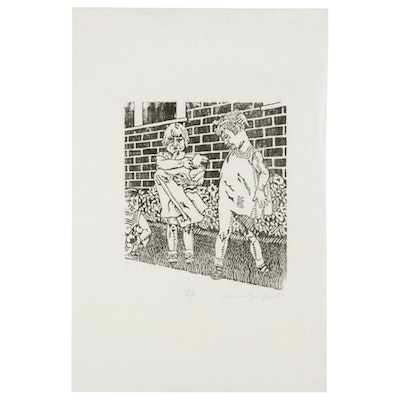 Julie Lynn Crist Woodcut of Young Girls Playing in Yard