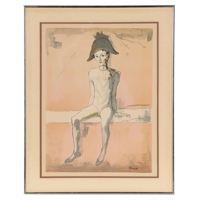 """Lithograph After Pablo Picasso """"Seated Harlequin"""""""