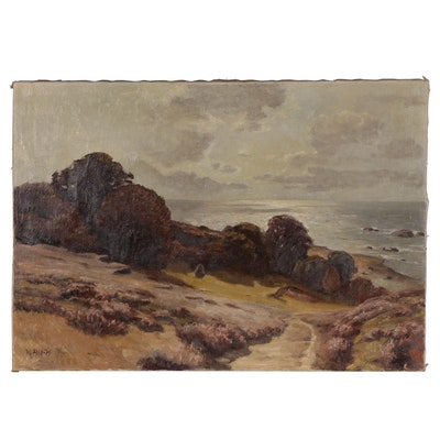 Seaside Landscape Oil Painting, Mid-20th Century
