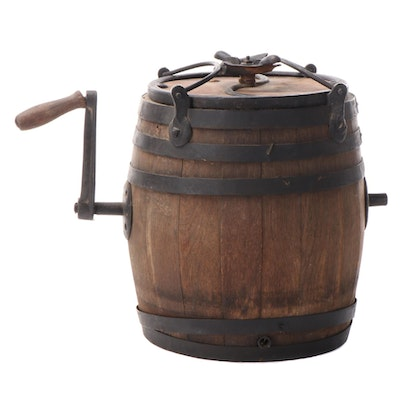 Primitive Barrel Shaped Hand Cranked Butter Churn, Early 20th Century