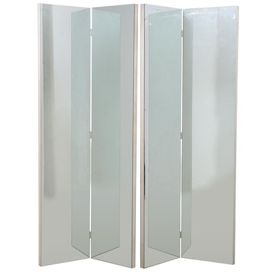 Pair of Mirrored Two-Panel Screens