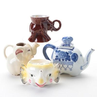 Frankoma and Other Ceramic Elephant Form Bowl, Mug, Teapot and Pitcher