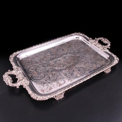 English Victorian Flat Chased Silver Plate Footed Serving Tray with Cast Handles