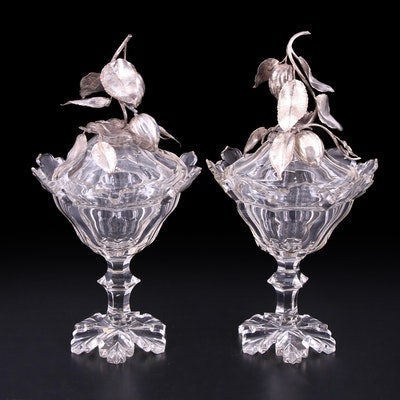 English Crystal Lidded Compotes with Silver Plate Figural Fruit Mounts, Antique