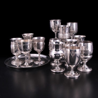 Wilcox and Other Silver Plate Goblets and Wilco Serving Tray, 20th Century