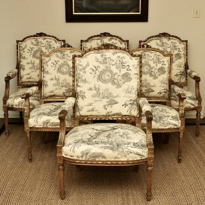Louis XVI Style Giltwood and Toile Fabric Dining Chairs, Late 19th/Early 20th C.