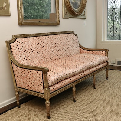 Louis XVI Style Giltwood and Custom Upholstered Canapé, Late 19th/Early 20th C.