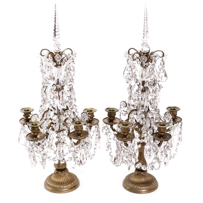Pair of French Louis XVI Style Gilt Bronze and Crystal Girandoles, 19th Century
