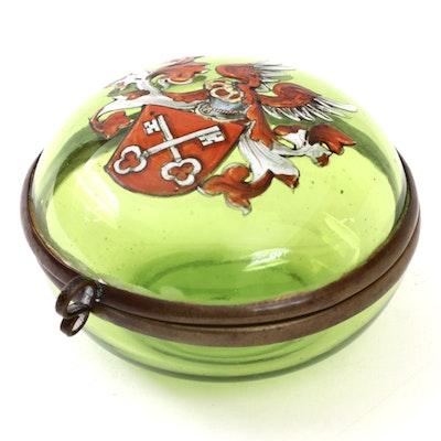 Grand Tour Souvenir Green Glass Regensburg Seal Patch Box, 19th Century