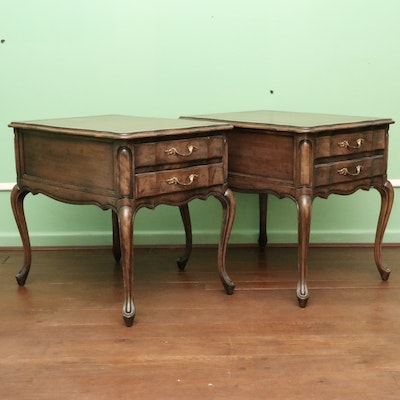 Pair of French Provincial Style Leather-Top End Tables, Mid-20th Century