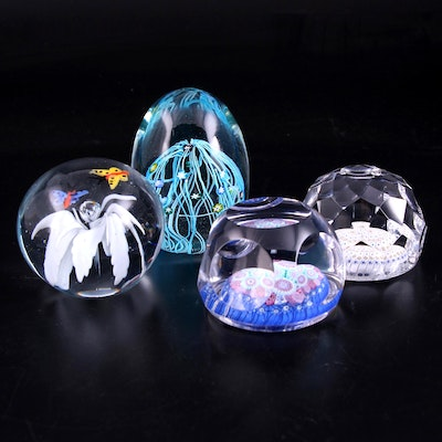 Whitefriars Faceted Millefiori Paperweights and Other Art Glass Paperweights